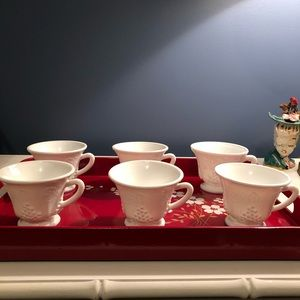 Milk glass grape motif coffee/tea cups